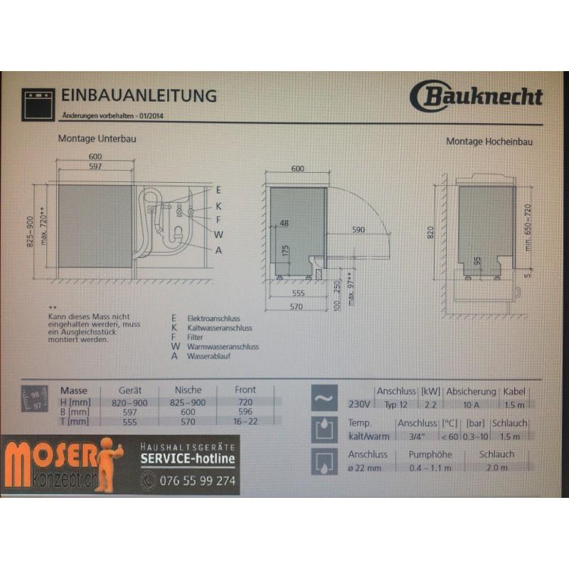 Marke Bauknecht Einbau Geschirrspuler 60 Cm Vollintegrierbar Gsx