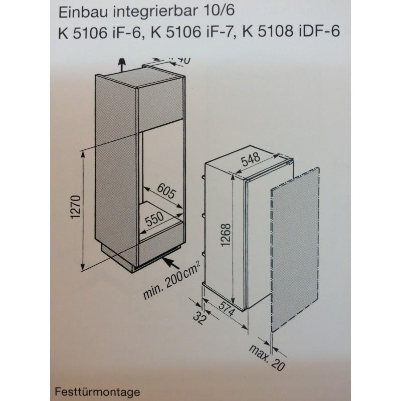 Miele Kuhlschrank K 5108 Idf 6 Einbauhohe 127cm Vollintegrierbar