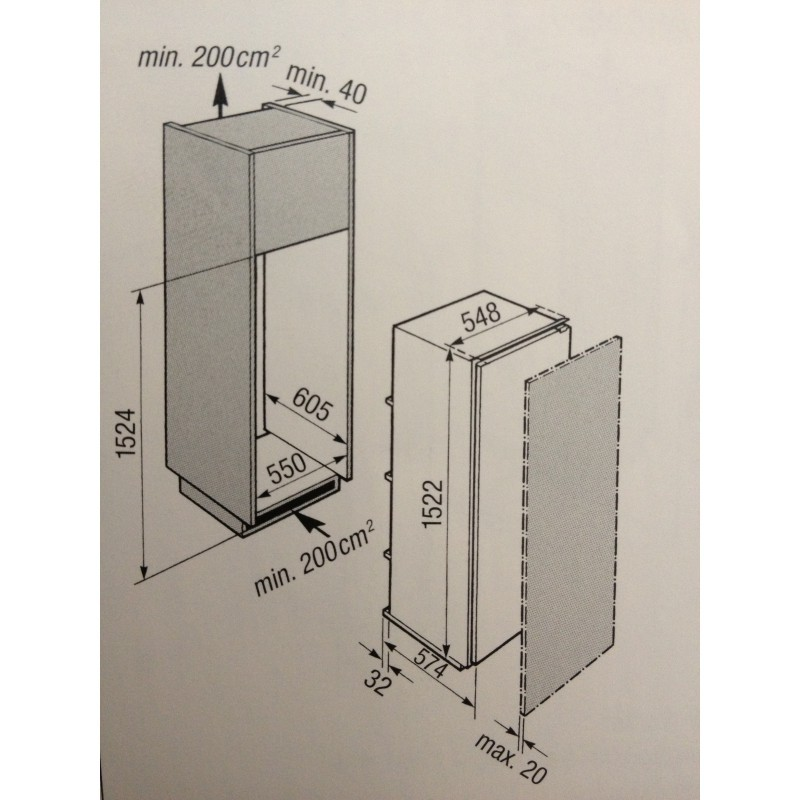 VZug De Luxe eco KühlschrankVollintegrierbar281 Liter  ~ Kühlschrank Zug