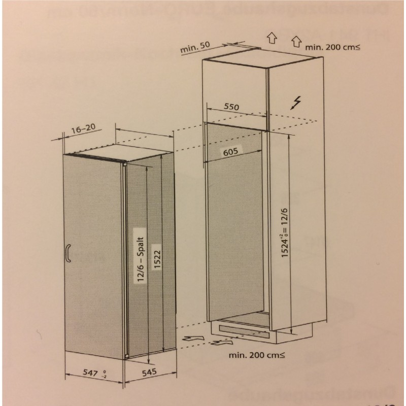 electrolux ek294sarwe k hlschrank rechts einbau h he 1523 mm ch norm 55cm moser konzept. Black Bedroom Furniture Sets. Home Design Ideas